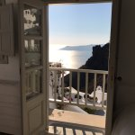 View from our Juliet balcony in our room at the Iconic Santorini