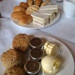 Apple & cinammon scones, finger rolls & tuna sandwiches