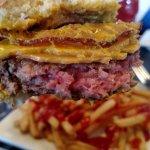 Raw cheese burger