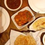 Chettinad mutton, konju masala, pulao rice and poori