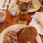Wiener Schnitzel, German Potato Salad and Gaffel Kolsch