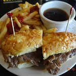 Probably the best beef dip I've had - piled high on a freshly baked cheese bun