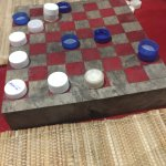 We enjoyed playing bottle cap checkers!