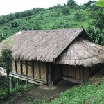 Our bamboo hut, with Nok's dog sleeping on the roof.