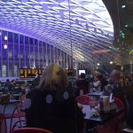 King's Cross train Station with terras of the restaurant
