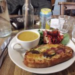 Oxford Rarebit with soup and salad