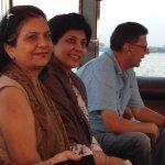 Lata, Rashmi & Pavan aboard the pontoon under way and cruising in the River Kabini
