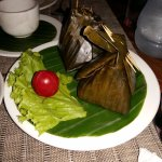 Steamed Mekong Fish with herbs in Banana Leafs