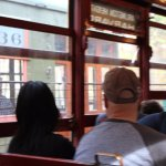 Inside the Trolley, another ride passing by to head back to station