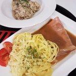 Risotto forestier et Jambon sauce madère tagliatelles