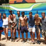 Me and my new friends in Tamarindo Backpackers!