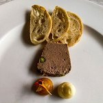 Chef's liver pate with pistachio, butter and orange marmelade