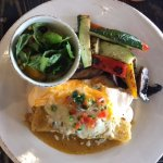 Two enchilada combo with salad and vegetables
