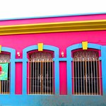 Vibrant colored buildings lines the streets