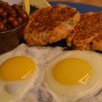 Fresh Salmon Cakes and Eggs
