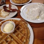 pecan waffles, biscuits & gravy, eggs and bacon