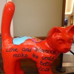 """Cat statue in the shopping hall """"Stadsfeestzaal"""""""