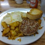 2 eggs, toast, sausage and homefries