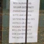 Bayerischer Hof - Sign on the front door on arrival