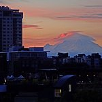 Mt Rainier at sunrise with telephoto lens