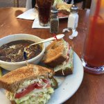 French Onion soup, Pepper Jack Cheese & Avocado sammy. Corned beef sammy with potato salad in ba