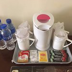 complimentary water, coffee, tea with kettle and mugs