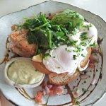 Byron Breakfast smoked salmon, spinach, tomato salsa, poached eggs & wasabi mayo on sourdough to