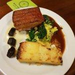 Roast pork belly dauphinoise potatoes