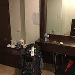 Aonang Regent Hotel, Thailand. Balcony, view from balcony, bathroom with toilet, basin, shower,