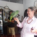 Rosemary & 'Bebé' (the rescued green parrot)