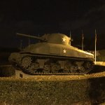 Tanks outside the museum (at night)