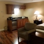 Spacious room with a wet bar, king size bed, with a hardwood floor.