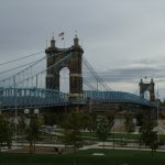 Roebling Bridge, view from Cincinnati side with part of Smale park in lower foreground