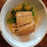 semolina crusted halibut with rock shrimp and creamed corn.