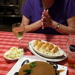 Her grilled shrimp and my Shepherd's pie!