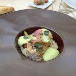 Cod on mushroom quinoa risotto wit leek sabayon sauce