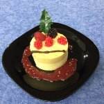 """Noni and passion fruit mousse with raspberry """"coulis"""""""