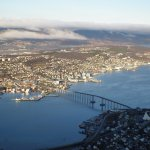 View of Tromso, No. harbor (Clarion Aurora) from cable car