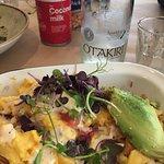Melted Breakfast: Cheesy eggs, avocado, pork, potato skins, etc.