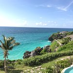 Beautiful view from our room at The Crane on a sunny day in Barbados