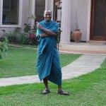 Maasai gatekeeper and 'host' around the garden!