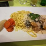 pasta w chicken, truffles, witloof and carrots