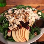 Apple, Walnut, Cran raisins, feta cheese and chicken salad