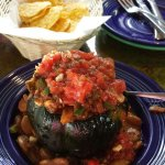 Lima bean chili in acorn squash (corn chips separate order)