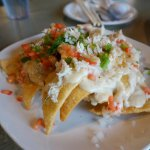 Wonton Nachos- Crispy wonton chips (that stayed crispy throughout) topped with crab and crawfish