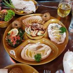 Mezza platter, olives, and pita bread