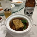 Sea Cucumber w/ Fish maw soup, goes REALLY well with my Asahi Beer