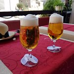 Cold draft beer on the terrace looking out on the Adriatic.