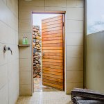 Indoor shower of tented suite