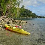 Kayak auf Insel vor der Tapu Lodge